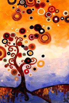 Folk Art Print Swirly Tree 13x19 Whimsical Contemporary Landscape by Natasha Wescoat