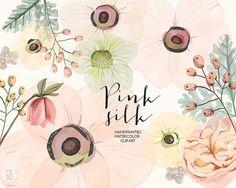 Watercolor anemones, juliet rose, hand painted wedding flowers, dusty miller bouquet florals, clipart, watercolour invitation