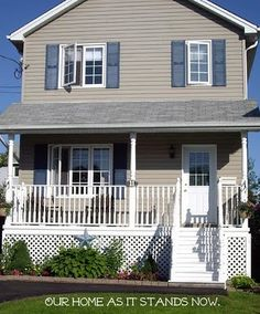 Exterior Color Tan House With Navy Blue Shutters