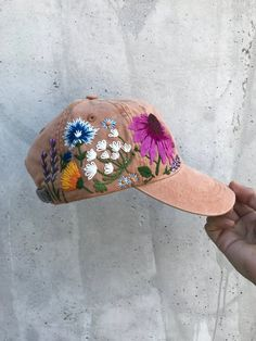 c9a04870660 Hand embroidered hiking hat floral design baseball hat for women custom hat  for girls embroidered fl
