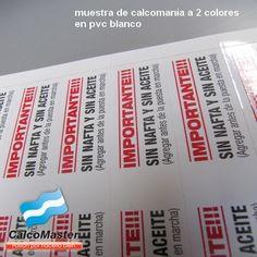 Calco / Calcomania a 2 colores impreso sobre pvc blanco autoadhesivo