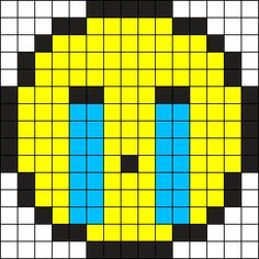 Crying Emoji Perler Bead Pattern / Bead Sprite