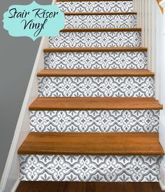 stair riser vinyl strips removable sticker peel stick for 15 steps t188 greyduo wall tiles. Black Bedroom Furniture Sets. Home Design Ideas