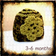 3-6 month Crochet baby hat with flower detail £4.50