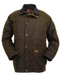 Men's Brown Oilskin Hunting Jacket by Outback Trading Co. #Fall2015 #mensouterwear waterproof for bad weather