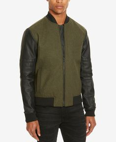 Kenneth Cole Reaction Men's Mixed-Media Bomber Jacket