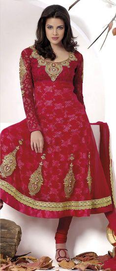 #Red Net and Jacquard Net #Churidar Kameez @ $141.05