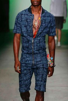 indigo Brazilian-print bomber jumpsuit, Asaf Ganot S/S 16 // casual spring and summer menswear style + fashion