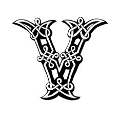 Celtic letter V vector art illustration