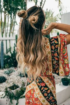 half up buns - boho hairstyle