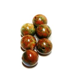 """Fancy agate beads, round agate cabs, 7 mm loose beads, brown orange green, ,jewelry making, jewelry supplies, """"Agate Rumba"""" by Michaelangelas on Etsy"""