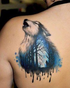 Watercolor wolf tattoo by Daniel Art #AnimalTattoos