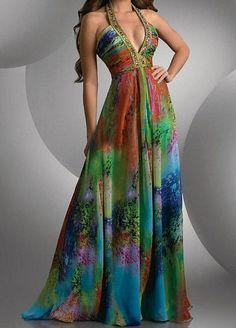 Rainbow tropical gown