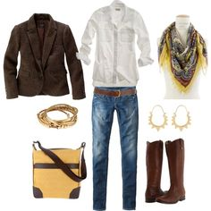 White with brown......love the Frye boots.......they are gorgeous:)