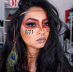 Maquiagem de Índia para o carnaval. Warrior makeup. Tribal makeup Maquillaje  De Sombrerero Loco 32243f6871a