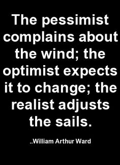 The pessimist complains about the wind; the optimist expects... William Arthur Ward