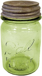 Did you know that Mason jars were patented in 1858 by Philadelphia tinsmith John Mason? Early colored glass jars were considered better for food preservation. Does anyone collect the antique Mason (also known as Ball) jars? Antique Bottles, Vintage Bottles, Bottles And Jars, Vintage Glassware, Glass Bottles, Fenton Glassware, Vintage Kitchenware, Pink Mason Jars, Vintage Mason Jars