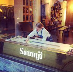 Linda Bergroth working on Samuji window display Store Displays, Scandinavian Style, Finland, Signage, Behind The Scenes, Textiles, Windows, Spaces, Design