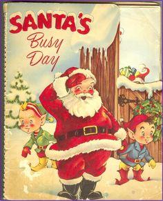 MECHANICAL CHRISTMAS BOOK, Santa's Busy Day, 1953, Early Pop-Up , Vintage Christmas. $34.00, via Etsy.