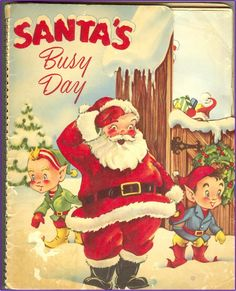 MECHANICAL CHRISTMAS BOOK, Santa's Busy Day, 1953, Early Pop-Up , Vintage Christmas. $34.00, via Etsy.