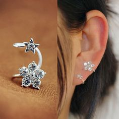 Flower and Star Rhinestone Ear Cuff (Single, No Piercing) | LilyFair Jewelry, $10.99!