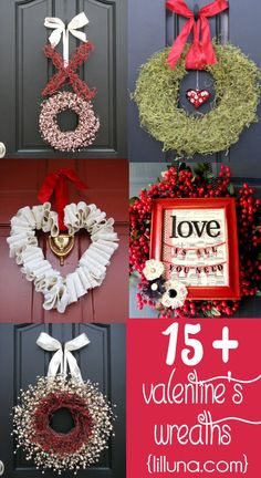 15+ Valentine's Wreath Ideas on { lilluna.com } #valentines