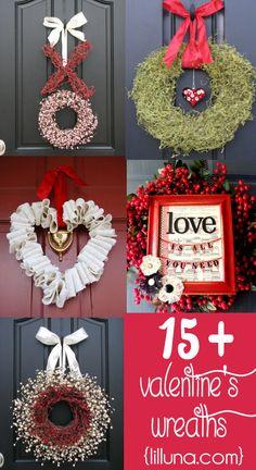 15+ Valentine's Wreath Ideas on { lilluna.com } #valentines