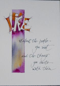 kalligrafie met spitse pen en aquarel - auteur van de tekst onbekend