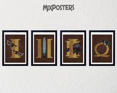 GOD OF WAR 4-pack posters, Minimalist Print, Superhero Poster, Wall Art, Art Print, Wall Decor, Digital Art by MixPosters on Etsy https://www.etsy.com/listing/601409118/god-of-war-4-pack-posters-minimalist