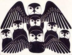 Family of Owls by Kenojuak Ashevak, Inuit artist (G20301)