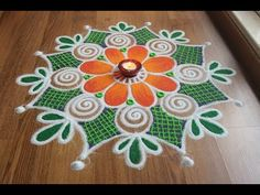 Simple,Easy and Quick freehand Rangoli designs with colours/ Rangoli Designs by Shital Daga Rangoli Designs Latest, Rangoli Designs Flower, Rangoli Border Designs, Rangoli Patterns, Rangoli Ideas, Rangoli Designs Images, Rangoli Designs With Dots, Flower Rangoli, Beautiful Rangoli Designs