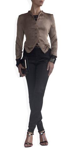 Cropped Satin Jacket on TROVEA.COM