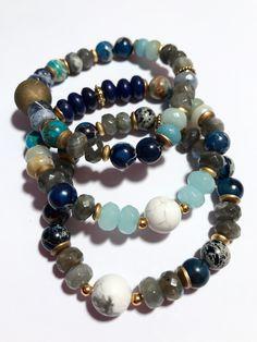 Blue Jasper & Labradorite Stacking Bracelets, Handmade Gemstone Jewellery, boho inspired available now from my Etsy Store: www.etsy.com/uk/shop/JasperrsNJade