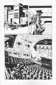 TBW007, pluma, marcadores y pincel con tinta china, 50 x 35 cm, 2014 Páginas de la historieta The Broken Wings, bajo guión de Chris Smith para publicar en el blog Champion City Comics (USA)