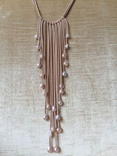Handmade Freshwater Pearls on Leather Boho Tassel Necklace