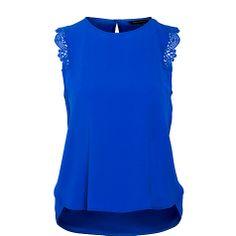 Buy Tara Jarmon Lace Trim Top, Bright Blue Online at johnlewis.com