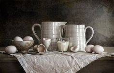 ❤ - Tineke Stoffels - Still Life With Milk And Eggs, processing by Tineke Stoffels