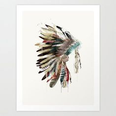 The Headdress .retro colorful native headdress Giclee fine art print for home decor.color your world