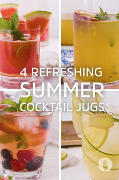 4 Refreshing Summer Cocktail Jugs - - Summer cocktail jugs for a crowd? Alcoholic Cocktails, Cocktail Drinks, Refreshing Summer Cocktails, Alcohol Drink Recipes, Gin And Tonic, Food For Thought, Crowd, Fruit, Unicorn