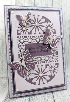 Happy Thursday, Today I thought I would share another new dies from the Bee Balm collection here is a closer look at the Bee Balm Backgr. Owl Punch, Die Cut Cards, Next Door, Butterfly Cards, Flower Of Life, Birthday Cards, Happy Birthday, The Balm, Card Making