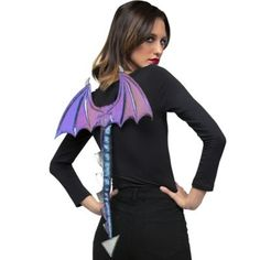 These blue and purple Adult Iridescent Dragon Wings feature an attached scaled tail and an oil-slick finish. The kit makes creating your dragon costume as easy as placing your arms through two elastic bands. Animal Costumes, Diy Costumes, Adult Costumes, Costumes For Women, Costume Ideas, Halloween Costume Accessories, Halloween Costume Shop, Adult Halloween, Dragon Costume Women
