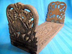 S7031 £SOLD Carved pierced wood book slide w foliate detail 12.625in