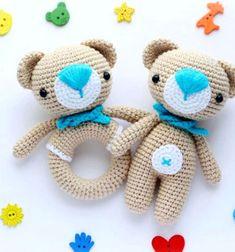 Amigurumi teddy bear and teddy rattle (free crochet pattern) // Horgolt maci és macis babacsörgő - amigurumi minták // Mindy - craft tutorial collection // #crafts #DIY #craftTutorial #tutorial #BabyShowerCrafts #BabyCrafts #DIYBabyShowerGifts