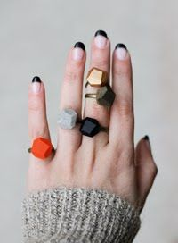A Merry Mishap - black french, forget the manicure..I covet the rings. (Okay, I dig the mani too).