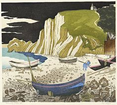 Normandy Beach, Ian Cheyne, woodcut