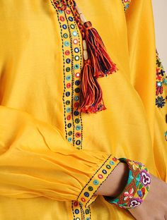 Chrome Yellow Hand Embroidered Silk Chanderi Tunic with Mirror Work Embroidery On Kurtis, Kurti Embroidery Design, Embroidery Fashion, Embroidery Dress, Kurta Designs Women, Kurti Neck Designs, Kurti Designs Party Wear, Sleeves Designs For Dresses, Neck Designs For Suits
