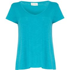 AMERICAN VINTAGE Short Sleeve V Neck Top ($58) ❤ liked on Polyvore featuring tops, shirts, blue, short sleeve, tees, oasis, short sleeve shirts, blue shirt, blue short sleeve top and v neck shirt