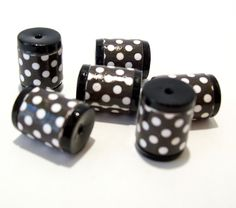 Black and White Polka Dot Barrel Beads -  Paper and Polymer Clay by BarbiesBest on Etsy