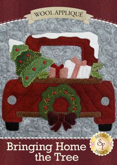 """There's nothing quite as exciting as the tradition of bringing home the Christmas tree each year! The Bringing Home The Tree Quilt perfectly captures the familiar feelings of the holidays with the candy canes, vintage trucks, holiday wreaths, a quaint farmhouse, and so much more! Designed by Stacy West for Buttermilk Basin and recolored by Shabby Fabrics. Finishes to 43"""" x 51"""". Your kit will include the following: All Applique Fabrics - 100% WOOL Pattern Half Square Triangle P..."""