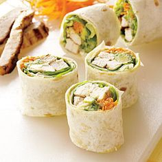 California Grilled Chicken Rolls - lots of ideas here. You could do crab or shrimp, serve with a sriracha ranch light dipping sauce, add cilantro, etc.